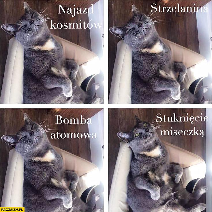 Typowy kot najazd kosmitów, strzelanina, bomba atomowa śpi. Stuknięcie miseczką budzi się