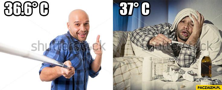 Typowy mężczyzna przeziębienie 37 stopni gorączki