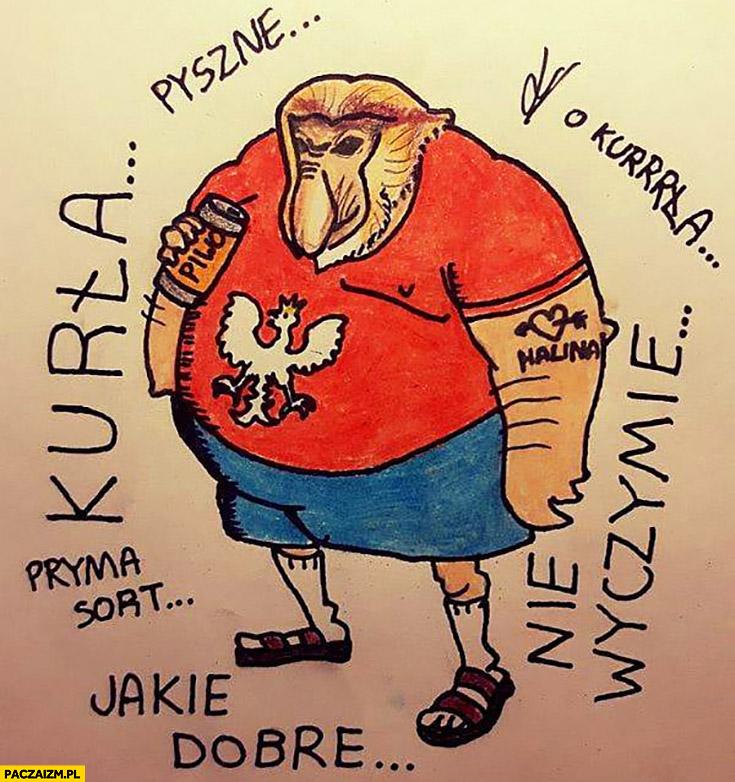 Typowy Polak pijący piwo rysunek kurła jakie dobre pryma sort nie wyczymie typowy Polak nosacz małpa