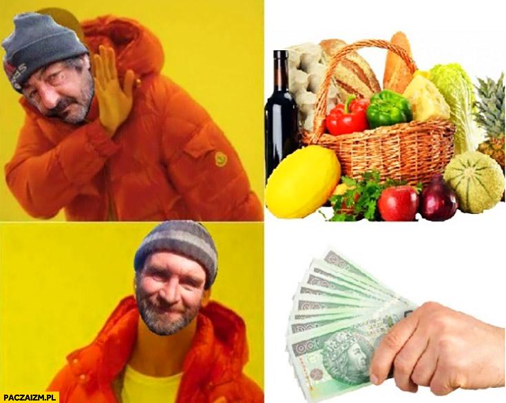 Typowy żul menel żebrak nie chce jedzenia chce tylko kasę pieniądze