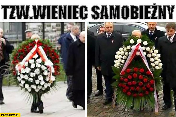 Tzw. wieniec samobieżny Kaczyński niesie nie widać go