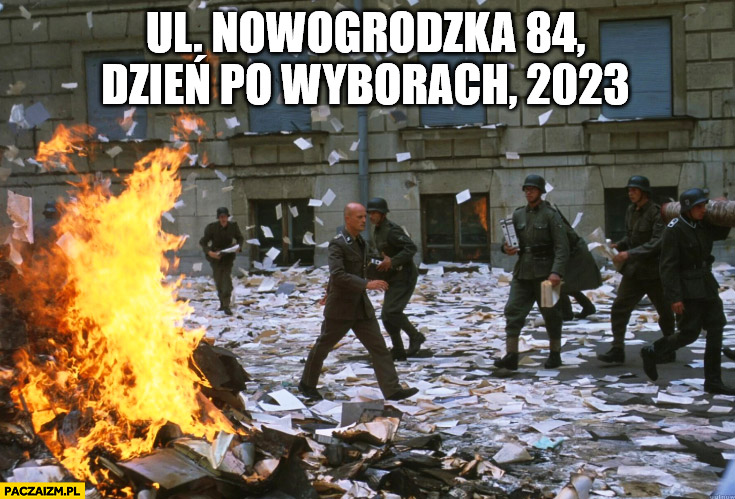 Ul. Nowogrodzka 84 PiS dzień po przegranych wyborach pali wszystkie dokumenty Niemcy druga Wojna Światowa