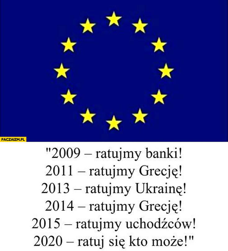 Unia Europejska: 2009 ratujmy banki, 2011 ratujmy Grecję, 2013 ratujmy Ukrainę, 2015 ratujmy uchodźców, 2020 ratuj się kto może