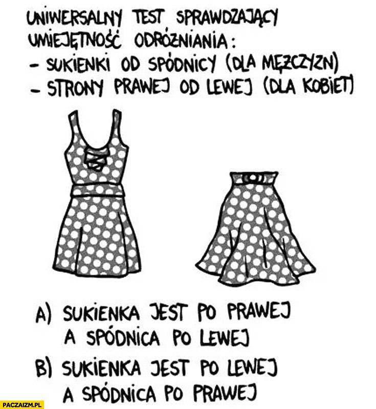 Uniwersalny test sprawdzający umiejętność odróżniania sukienki od spódnicy dla mężczyzn strony prawej od lewej dla kobiet