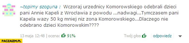 Urzędnicy Komorowskiego odebrali dzieci z powodu nadwagi Pani waży 50kg mniej niż żona Komorowskiego