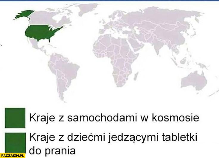 USA kraje z samochodami w kosmosie, kraje z dziećmi jedzącymi tabletki do prania Tide Pod challenge mapa