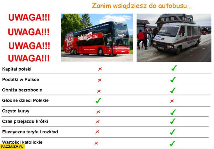 Uwaga zanim wsiądziesz do autobusu Polskibus lokalny bus porównanie