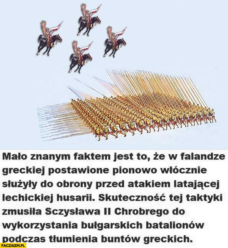W falandze greckiej postawione pionowo włócznie służyły do obrony przed atakiem latającej lechickiej husarii głupia ciekawostka