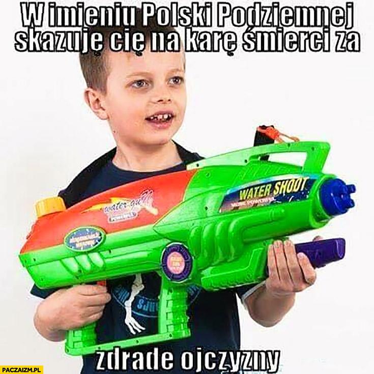 W imieniu polski podziemnej skazuję Cię na karę śmierci za zdradę ojczyzny dziecko z pistoletem na wodę karabinem