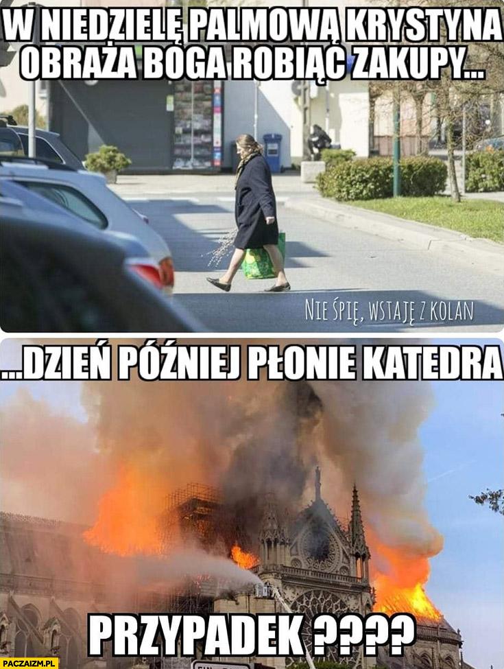 W niedzielę palmową Krystyna Pawłowicz obraża Boga robiąc zakupy, dzień później płonie katedra Notre Dame, przypadek?