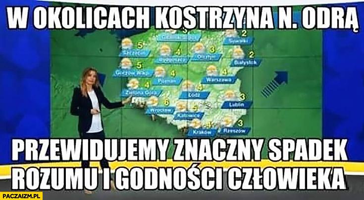 W okolicach Kostrzyna nad Odrą przewidujemy znaczny spadek rozumu i godności człowieka prognoza pogody