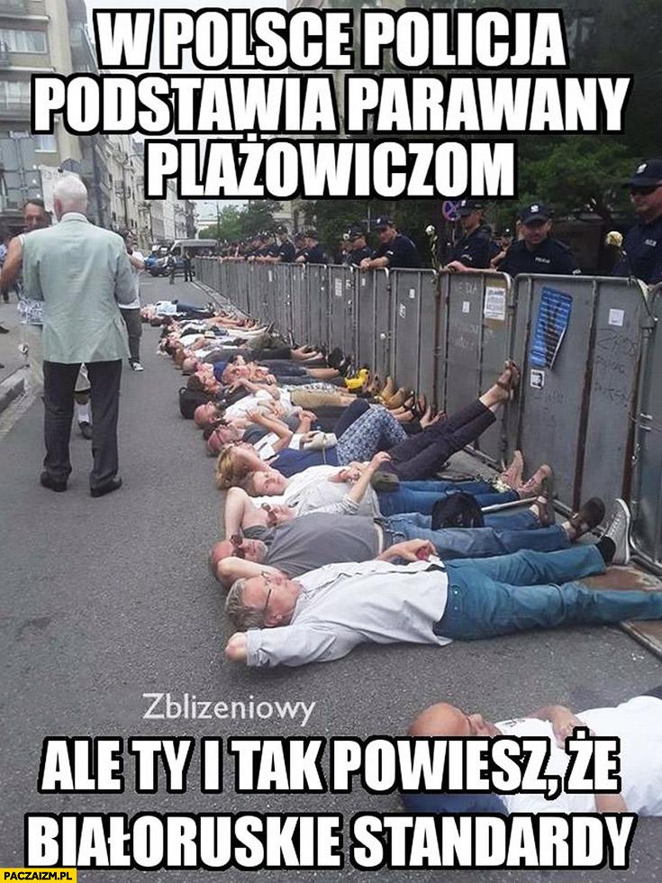 W Polsce policja podstawia parawany plażowiczom ale Ty i tak powiesz, że białoruskie standardy protest manifestacja pod sejmem