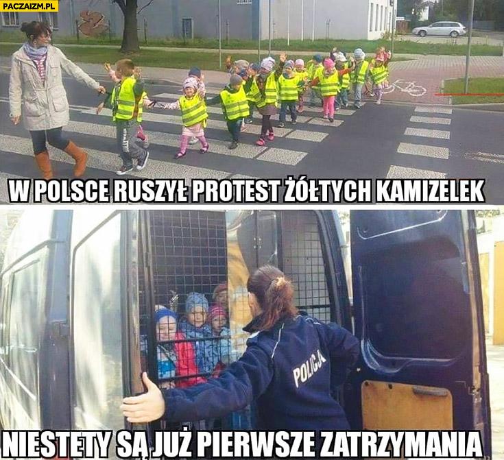 W Polsce ruszył protest żółtych kamizelek niestety są już pierwsze zatrzymania aresztowane dzieci
