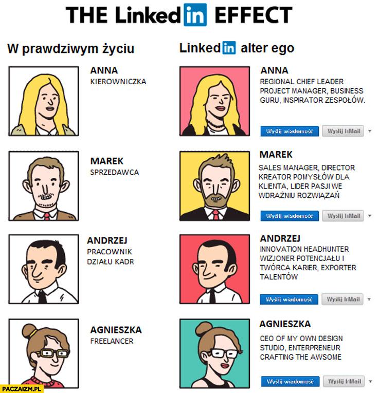 W prawdziwym życiu LinkedIn alter ego porównanie