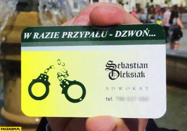 W razie przypału dzwoń adwokat Seba Sebastian wizytówka