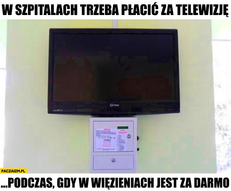 W szpitalach trzeba płacić za telewizję podczas gdy w więzieniach jest za darmo