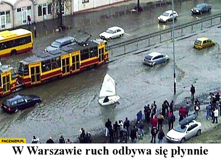 W Warszawie ruch odbywa się płynnie łódka zalane ulice