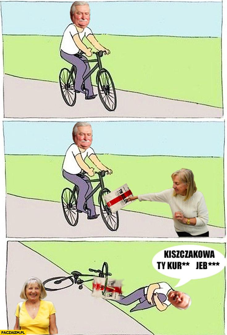 Wałęsa na rowerze Kiszczakowa wywala go teczka TW Bolek