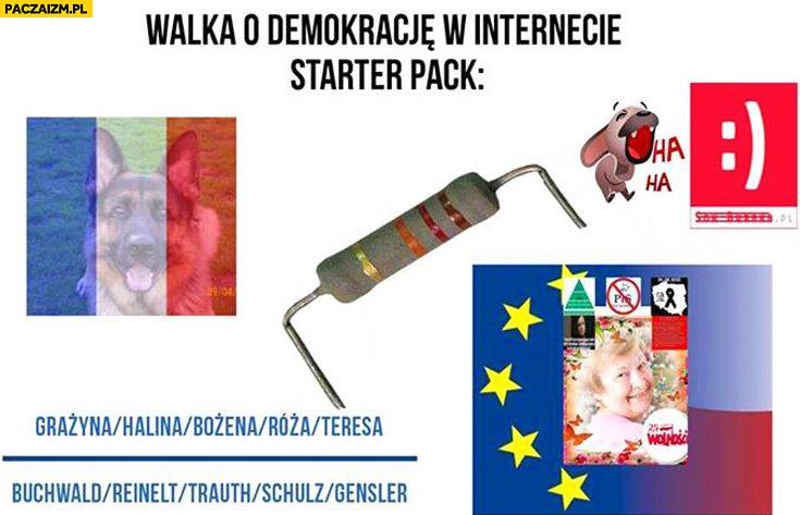 Walka o demokrację w internecie starter pack: opornik, flaga Francji, sokzburaka