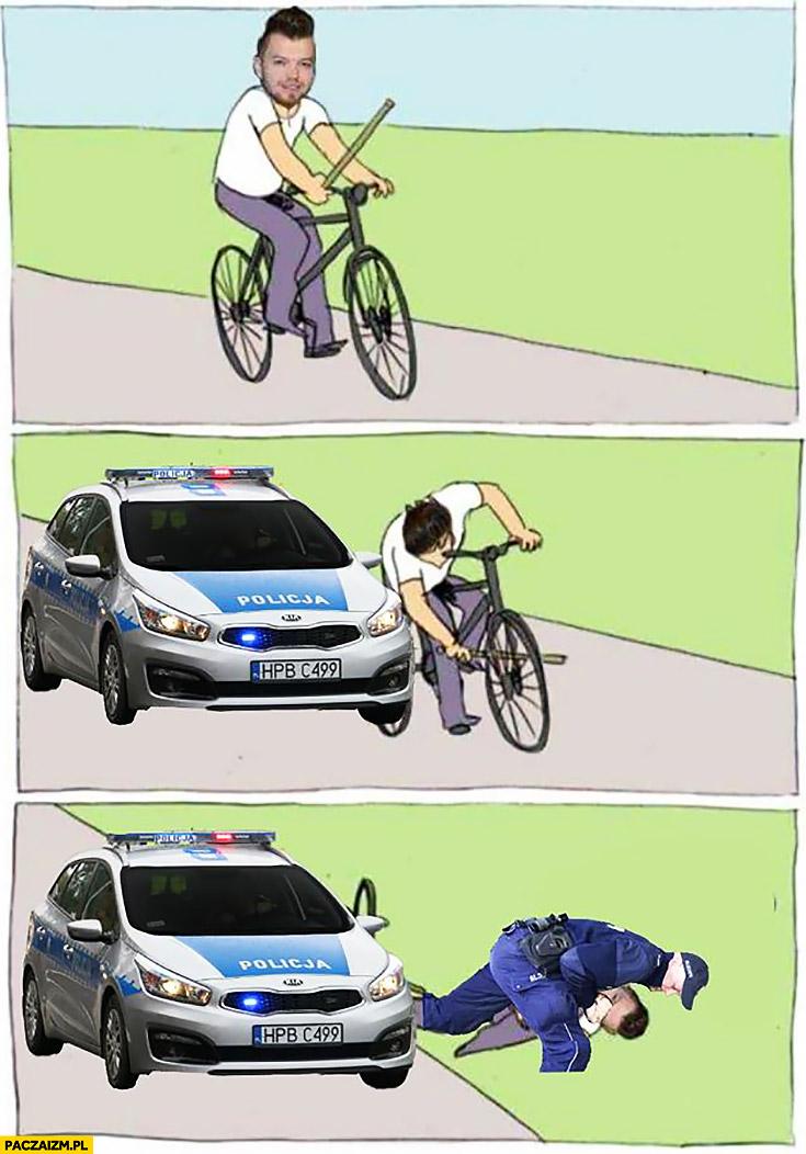 Wardęga jedzie na rowerze policja skuwa go kajdankami na glebie mem