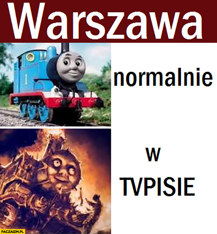 Warszawa normalnie vs w TVP TVPiS pociąg