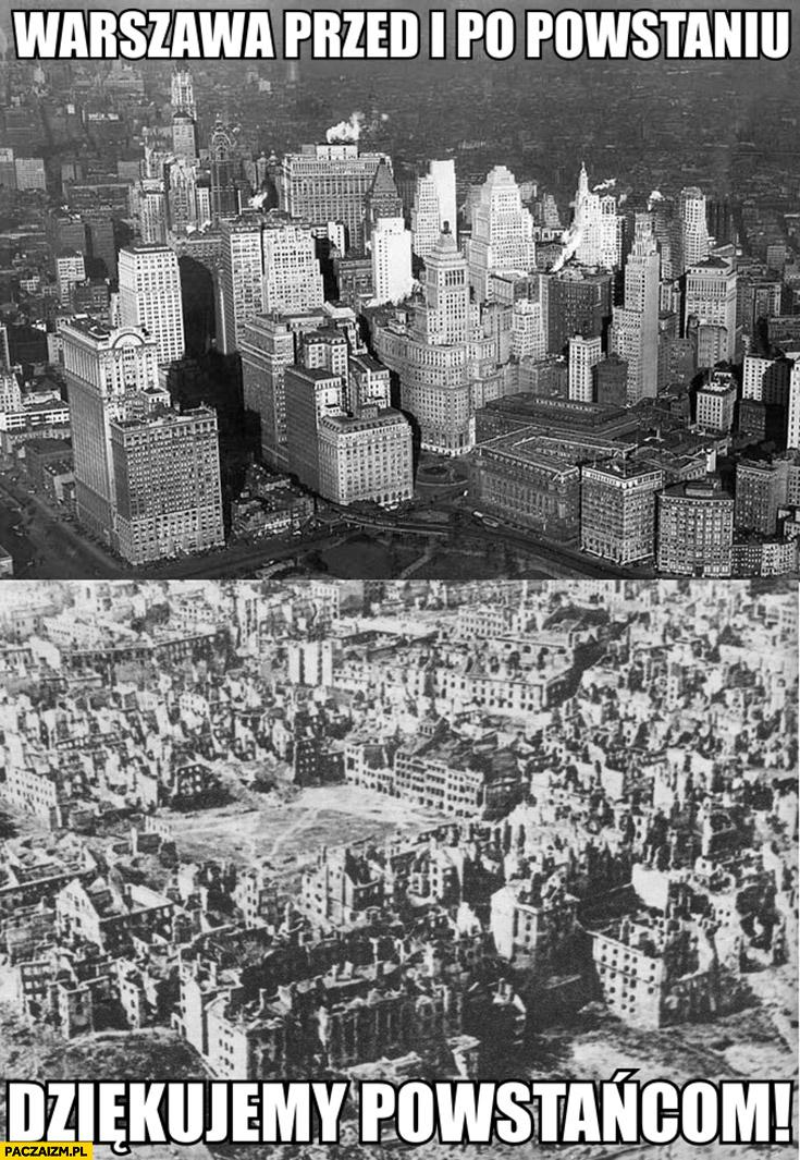 Warszawa przed i po powstaniu dziękujemy powstańcom miasto z USA