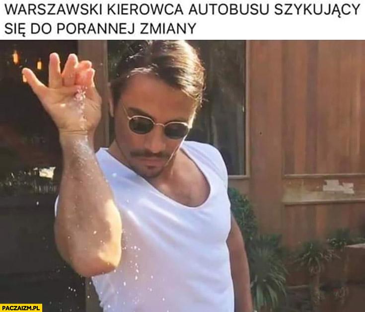 Warszawski kierowca autobusu szykujący się do porannej zmiany sypie ścieżkę koks amfetaminę