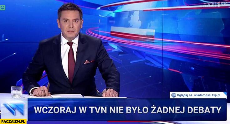 Wczoraj w TVN nie było żadnej debaty pasek Wiadomości TVP