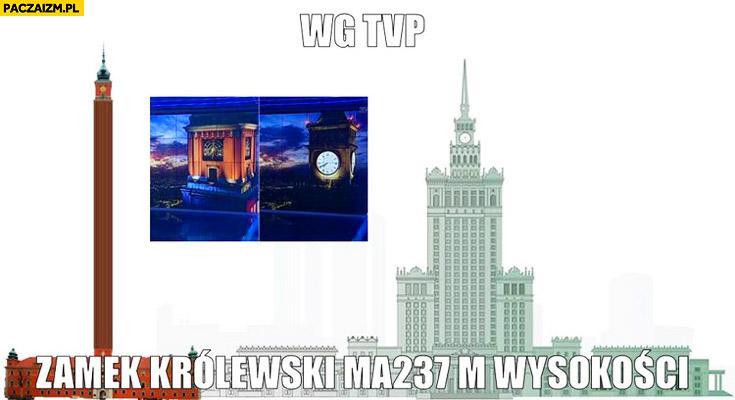 Według TVP Zamek Królewski ma 237 metrów wysokości PKiN porównanie
