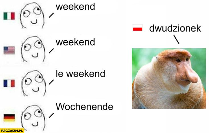 Weekend w innych językach, dwudzionek po polsku typowy Polak nosacz małpa