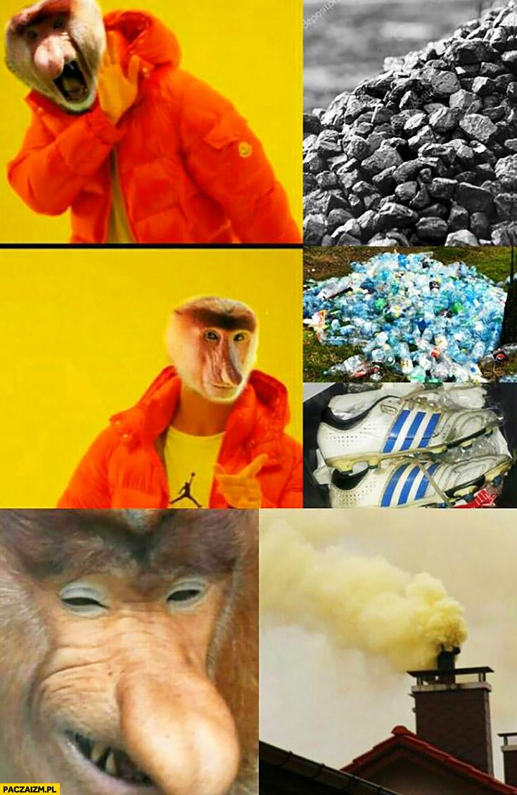 Węgiel nie chce, woli palić śmieciami typowy Polak nosacz małpa Drake
