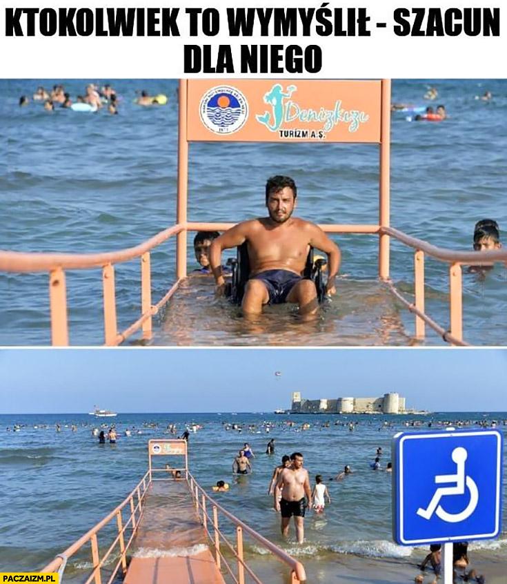 Wejście do morza dla niepełnosprawnych ktokolwiek to wymyślił szacun dla niego