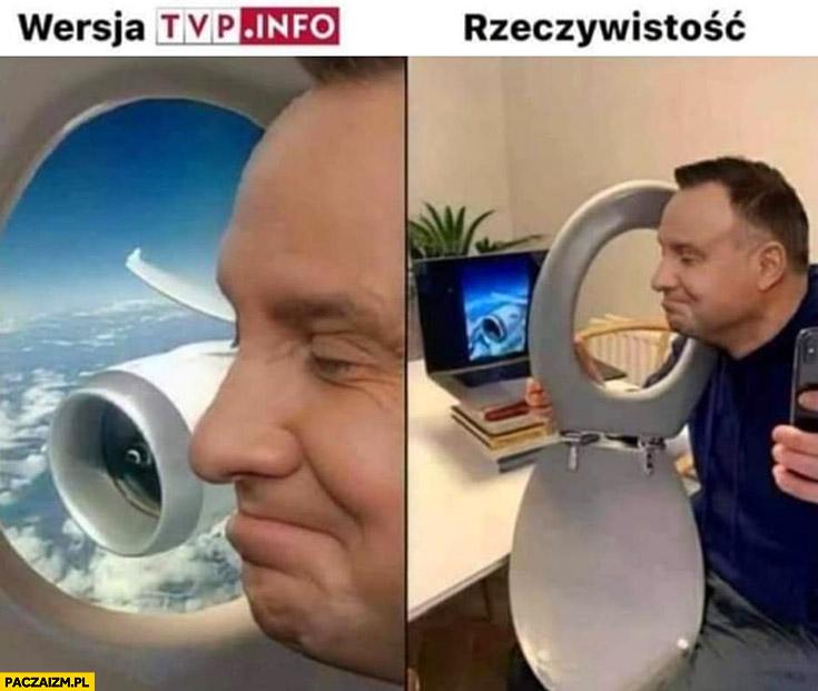Wersja TVP info vs rzeczywistość Andrzej Duda samolot kibel