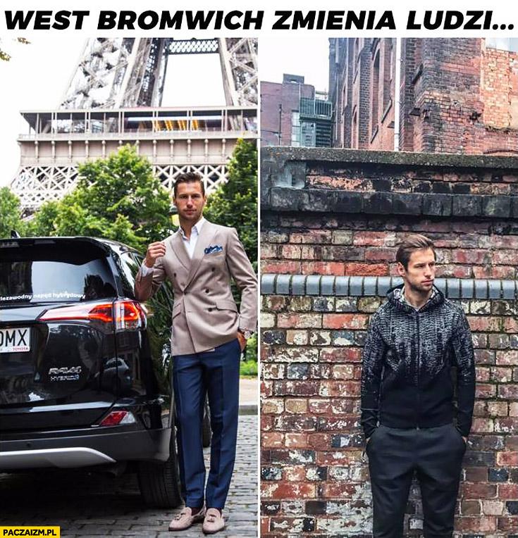 West Bromwich zmienia ludzi Grzegorz Krychowiak przed w garniturze po w bluzie