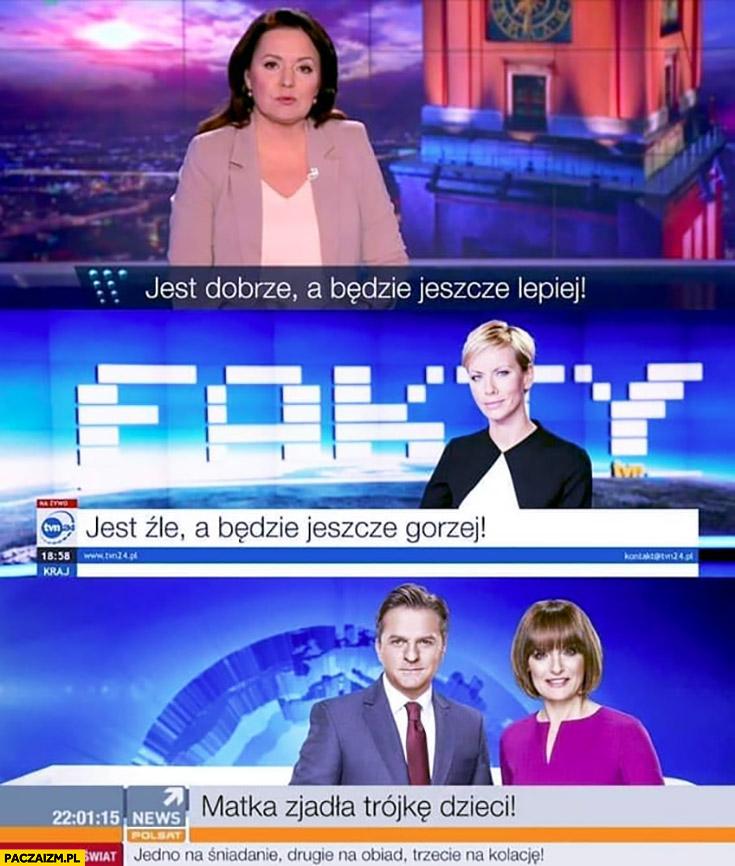 Wiadomości: jest dobrze a będzie jeszcze lepiej, Fakty: jest źle a będzie jeszcze gorzej, Polsat news: matka zjadła trójkę dzieci