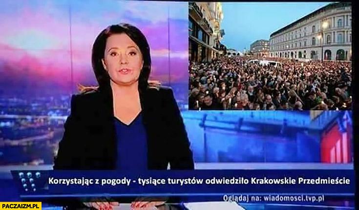Wiadomości TVP korzystając z pogody tysiące turystów odwiedziło Krakowskie Przedmieście