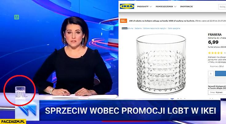 Wiadomości TVP sprzeciw wobec promocji LGBT w IKEI mają na stole szklankę z IKEI