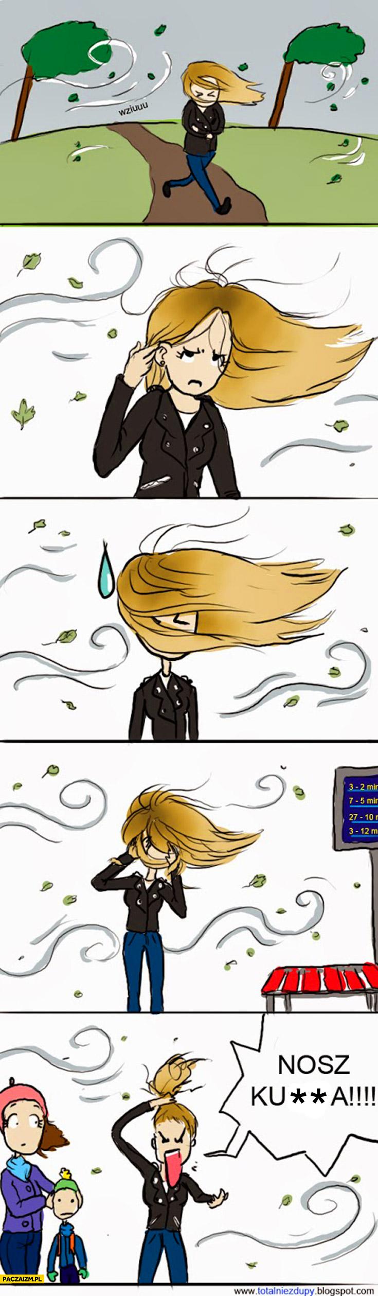 Wiatr kiedy się ma długie włosy