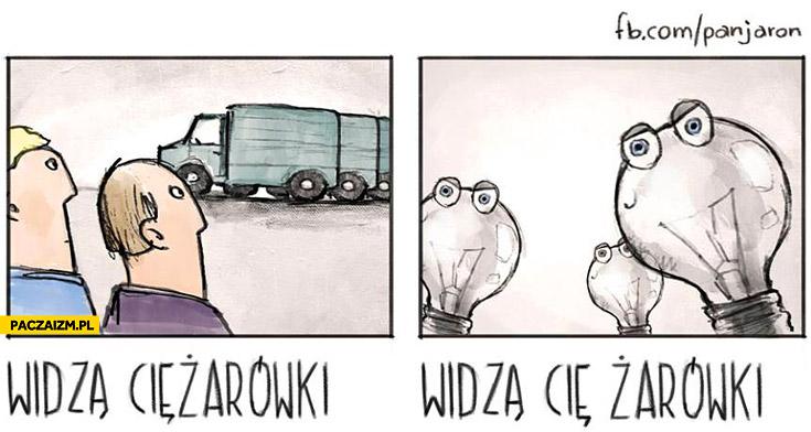 Widzą ciężarówki widzą Cię żarówki