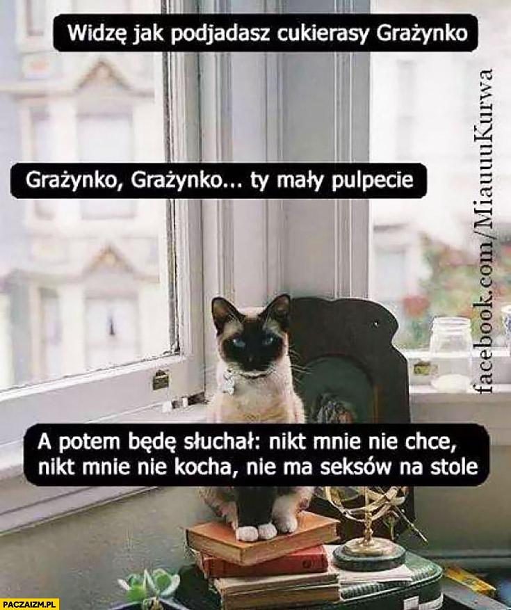 Widzę jak podjadasz cukierki Grażynko Ty mały pulpecie a potem będę słuchał nikt mnie nie chce nikt mnie nie kocha kot