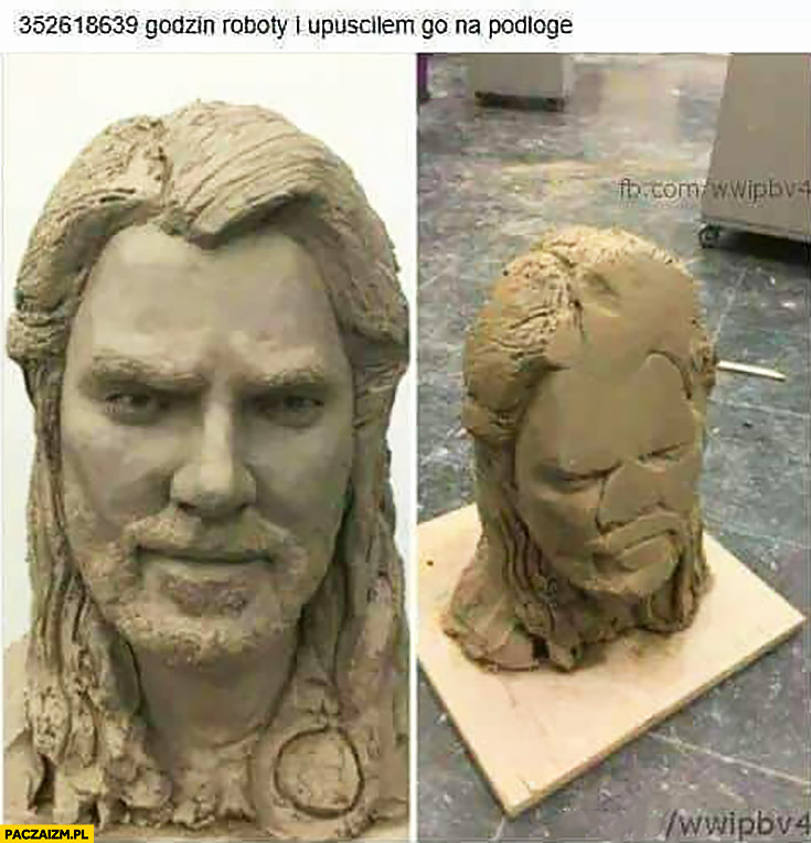 Wiele godzin roboty i upuściłem go na podłogę rzeźba twarz głowa