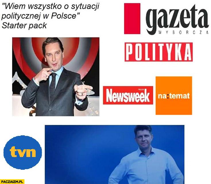 Wiem wszystko o sytuacji politycznej w Polsce starter pack: TVN, Newsweek, Polityka, Tomasz Lis, Petru, natemat