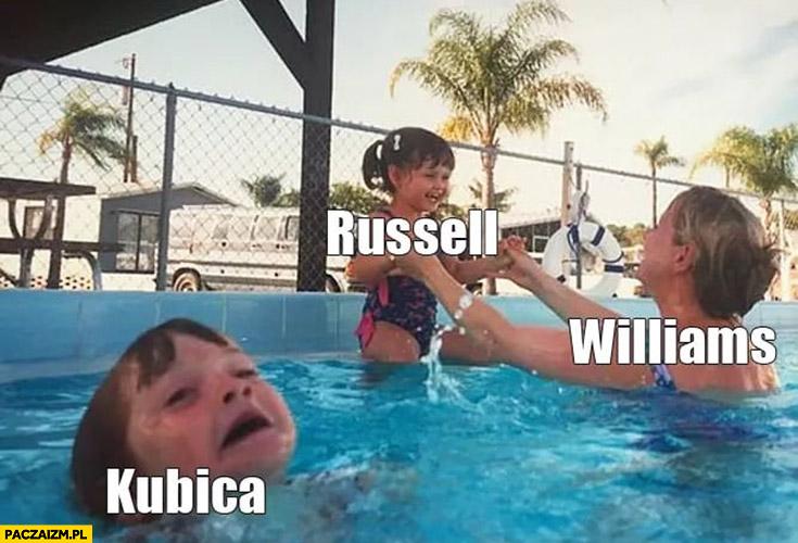 Williams mama zajmuje się Russellem dziewczynką tymczasem Kubica dziecko synek tonie F1 Formuła 1