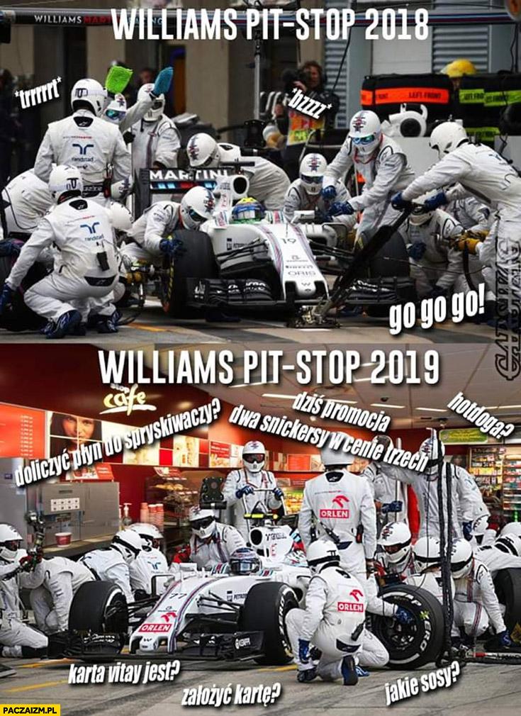 Williams pit stop 2018 vs 2019 karta Vitay jest? Założyć? Hotdoga? Jakie sosy?