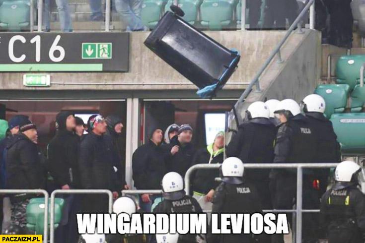 Wingardium leviosa lewitujący kosz na trybunie na meczu