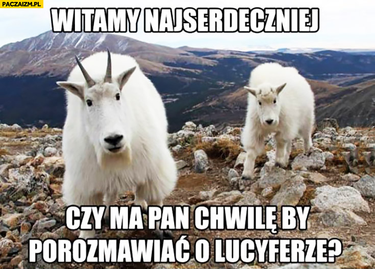 Witamy najserdeczniej, czy ma Pan chwilę by porozmawiać o Lucyferze? kozły