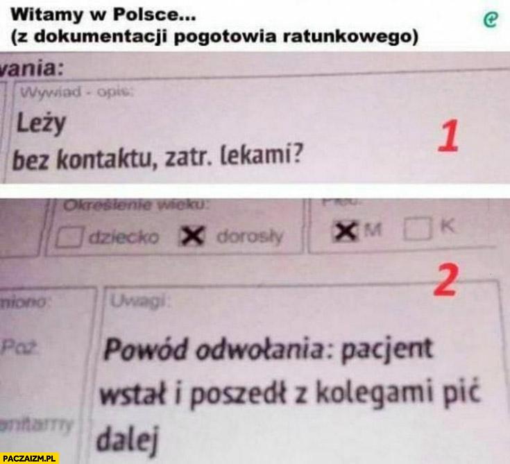 Witamy w Polsce dokumentacja pacjenta pogotowie leży bez kontaktu później wstał i poszedł z kolegami pić dalej