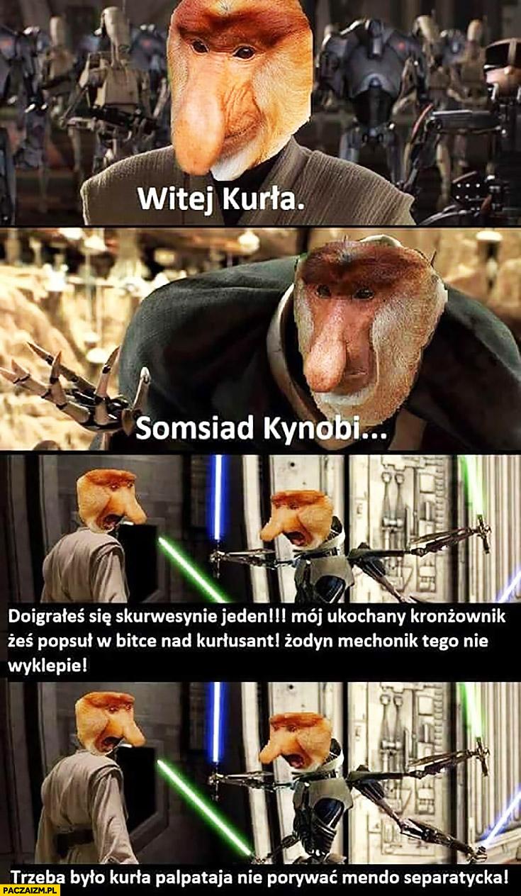 Witej kurna, somsiad Kynobi doigrałeś się Star Wars Gwiezdne Wojny typowy Polak nosacz małpa