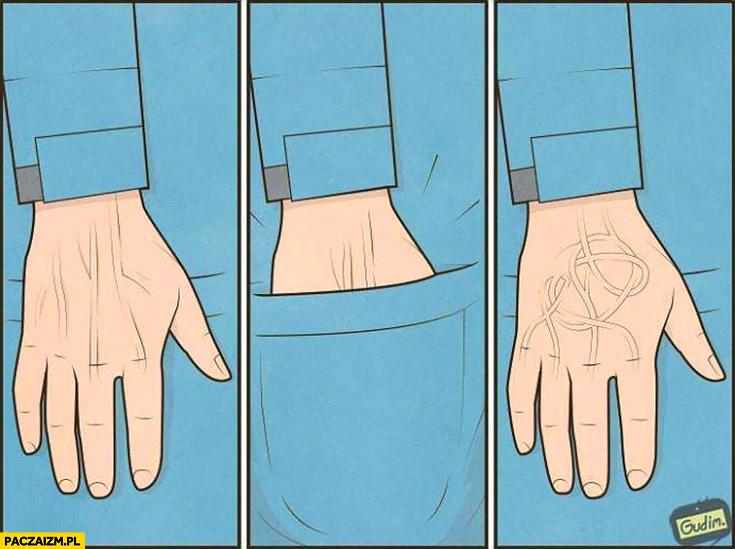Wkłada rękę do kieszeni wyciąga rękę poplątane żyły