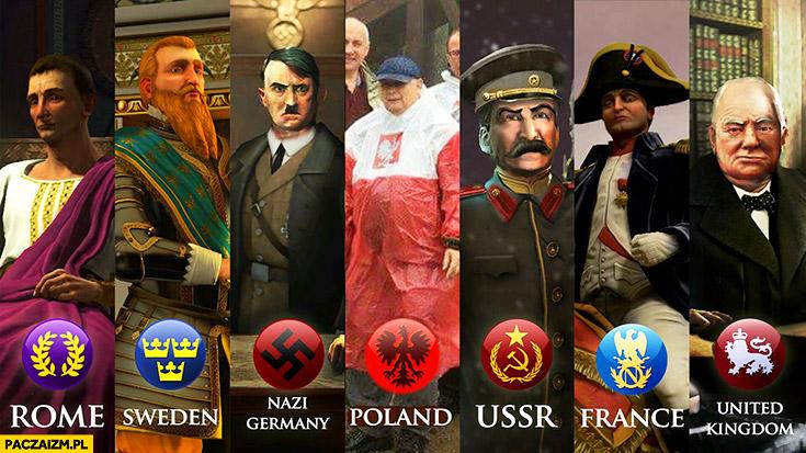 Władcy przywódcy krajów europejskich Polska Kaczyński płaszcz kurtka peleryna przeciwdeszczowa flaga polski przeróbka
